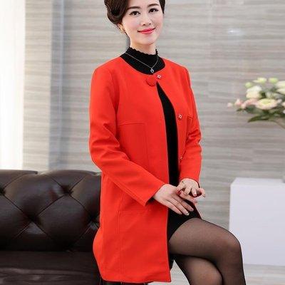 秋裝媽媽裝女裝中長款外套大碼寬鬆外搭長袖上衣純色開衫