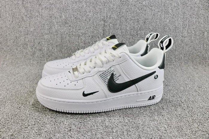 Nike Air force 1 黑白 經典 流行 休閒滑板鞋 男女鞋 AJ7747-100
