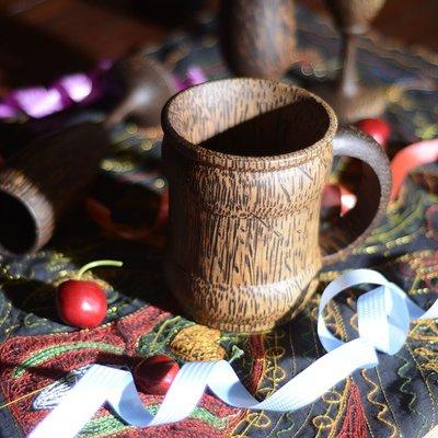 泰國進口東南亞風格酒具用品復古木質高腳杯 茶杯 水杯140583