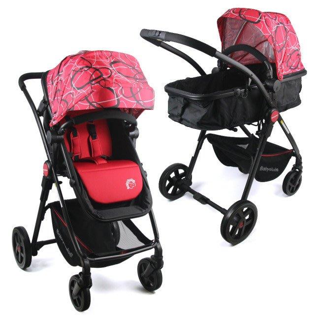 Baby Babe 輕量化歐式高景觀嬰幼兒手推車-圈圈紅  車台5.5kg輕量化設計及高景觀座位