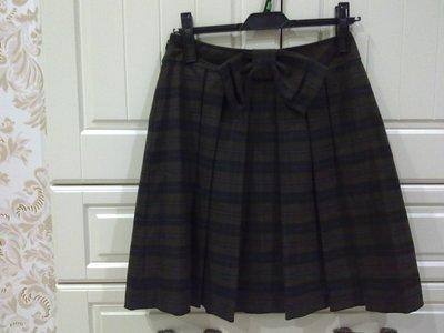 CLEAR IMPRESSION深咖啡大蝴蝶結格紋褶裙~999起