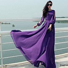 〔現貨館〕大牌米蘭風飄逸露肩顯瘦長袖洋裝.禮服(紫2415)S.M.L 配腰帶.當日出貨