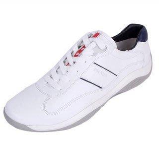 喬瑟芬【PRADA】特價$11500含運~2013春夏 白色 綁帶皮革 休閒鞋(42,42.5,43號)