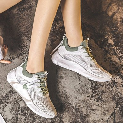 Fashion*運動鞋 輕便透氣時尚跑步鞋 ins潮百搭小白網鞋 35-40碼『米灰 白綠』