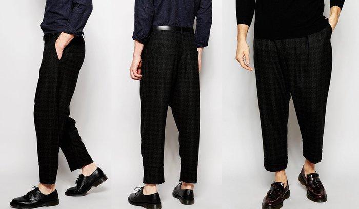 ◎美國代買◎ASOS千鳥格印花搭配寛鬆褲面可反摺褲管英倫個性風西裝長褲~歐美街風~大尺碼