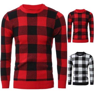 『X-男人館』 WS10 新款外貿男士爆款小格子圖案毛衣 時尚修身長袖加厚毛衣 格紋毛衣NRB2801
