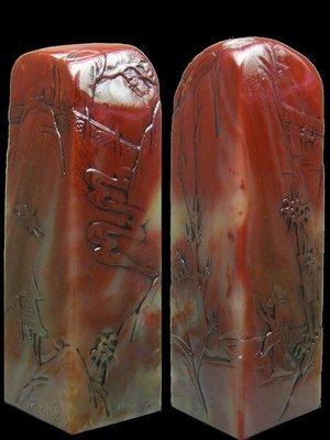 【頑石點頭】 壽山石 老性紅芙蓉石  精雕薄意 方章 625303 色豔質佳 质地温润