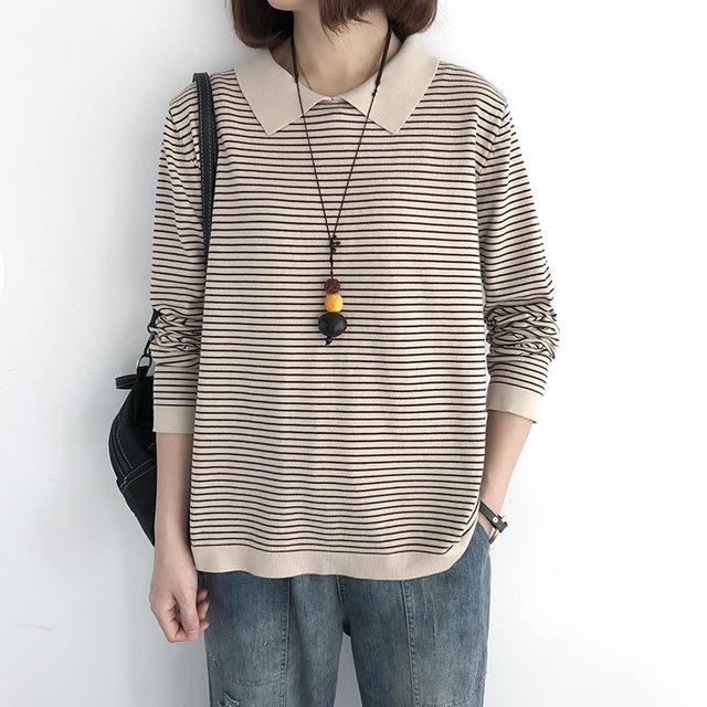 【T12889】1A24氣質翻領條紋針織衫6色F.預購。小野千尋