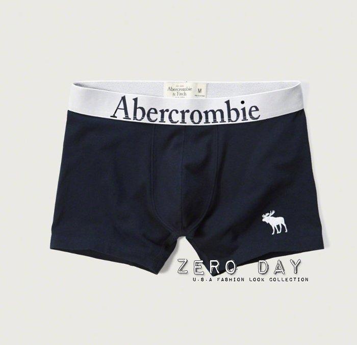 A&F Abercrombie&Fitch CLASSIC FIT BOXER BRIEFS刺繡麋鹿舒適麋鹿四角褲內褲藍