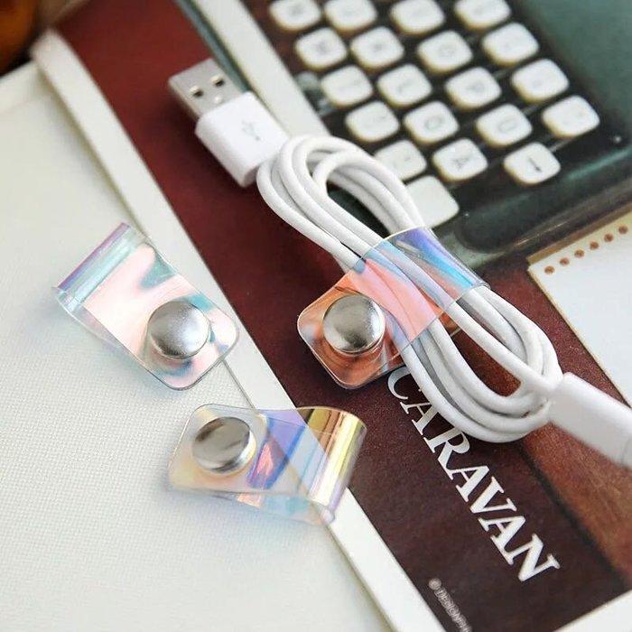時尚炫彩繞線器 數據線耳機線理線器 小巧便攜紐扣收納集線器