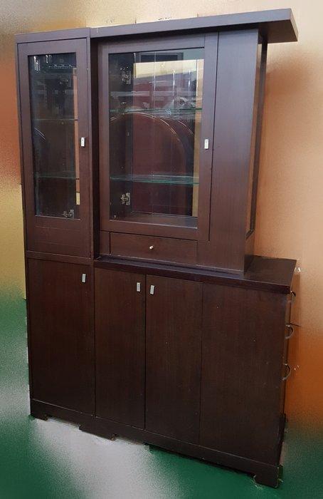 宏品二手傢俱館 2手家具大特價 B70111胡桃色玻璃屏風櫃*收納櫃/衣櫃/衣櫥/高低櫃/置物櫃/電視櫃/矮櫃/平面櫃