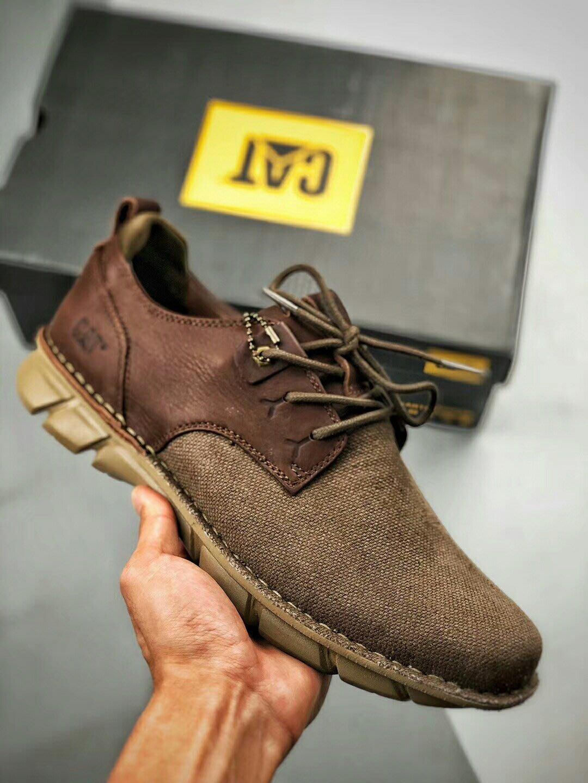 CAT卡特新款貨號P722400牛皮+帆布低幫輕便戶外運動休閒鞋39-44