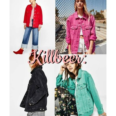 KillBeer:經典就是不會被換之 歐美60s復古搖滾古著水洗鮮豔彩色桃紅綠黑長版丹寧牛仔外套zara topshop