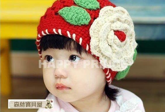 森林寶貝屋~春秋冬季~兒童帽公主花朵帽~兒童手工帽~韓版公主帽~大花朵女童帽~毛線帽~拍照必備