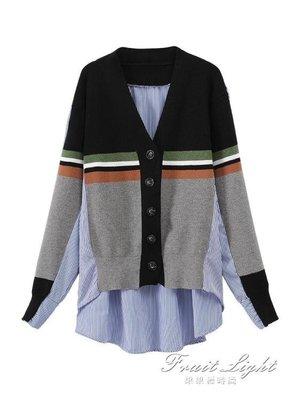 針織拼接條紋襯衫女韓版寬鬆v領開衫襯衣外套