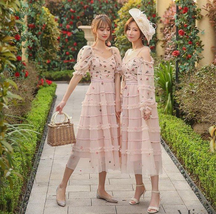 公主袖洋裝粉色紗網刺繡蛋糕裙露肩長袖/公主短袖洋裝許願魔鏡@wishing Mirror-*- BT21116