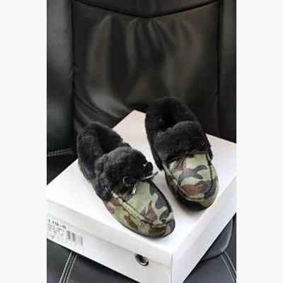 豆豆鞋羊毛絨休閒鞋-平底鞋馬毛潮流個性保暖真皮女鞋子4色72o23[獨家進口][米蘭精品]