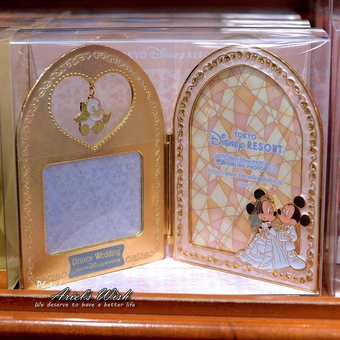 Ariels Wish預購-日本東京迪士尼Wedding婚禮-金邊愛心幸福鐘米奇米妮結婚禮服-會場擺式照片金屬高質感相框