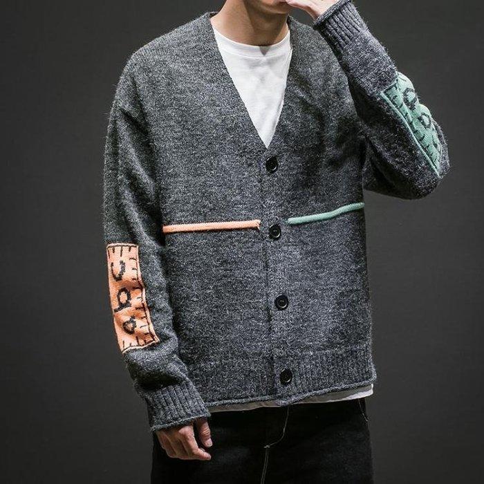 毛衣開衫針織衫 男士加肥大尺碼寬鬆V領胖子正韓潮男裝