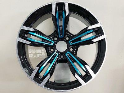 【甜甜圈】變型金剛 S1304 18吋5H120 黑拋肋骨藍鋁圈 BMW E34/E39/E60適用
