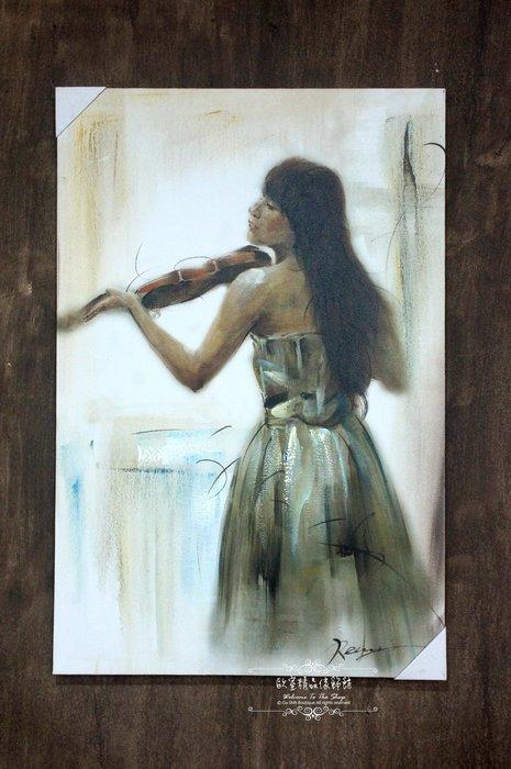~*~歐室精品傢飾館~*~鄉村風格 手工 繪製 工筆 油畫 細膩 演奏 小提琴 無框畫 掛畫 掛圖 壁飾~新款上市~