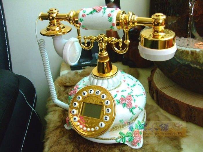 161 華城小鋪**古董電話 仿古電話 復古電話 有線 來電顯示 造型電話 S25A 玫瑰腳座