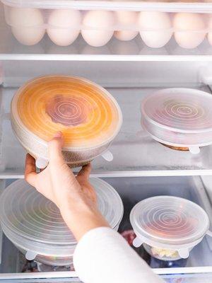 廚房餐具 粘板 調味瓶 烹飪工具硅膠密封保鮮蓋萬能食物冰箱碗蓋6件套家用防塵防漏多功能拉伸膜