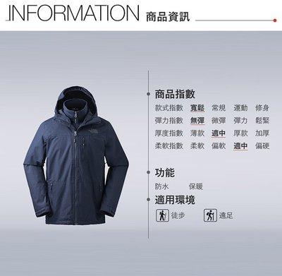 「正品六折」The North Face北面男款藍色防水透氣三合一外套 全新附吊牌