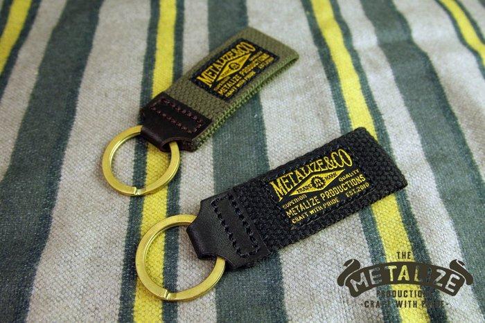 【METALIZE直營網路賣場】帆布皮革黃銅鑰匙圈