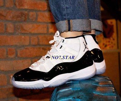 NIKE Air Jordan 11 AJ11 Concord 康扣 黑白 水晶藍底 漆皮 男鞋 378037-100