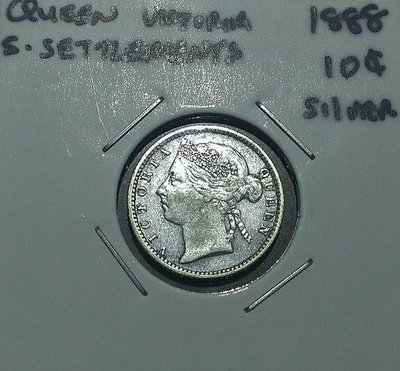 UNC 極稀有品 1888 年 英屬 海峽殖民地 維多利亞 女王 10 仙 Cents 銀幣 原光 美品 .800