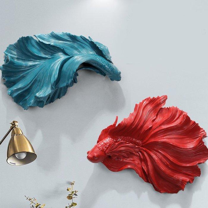 5Cgo【茗道】現代客廳牆面輕奢壁挂沙發背景牆裝飾挂件餐廳立體浮雕畫鬥魚壁飾鬥魚壁飾簡約紅藍雙款597153958076