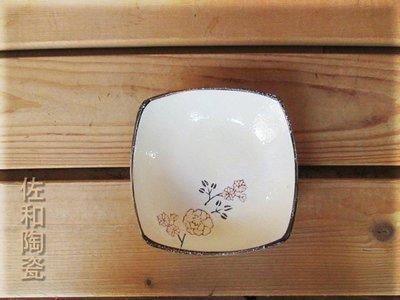 ~佐和陶瓷餐具~【82GA029-4.5 4.5吋新型四方碟(白梅)】/ 開店 餐廳 漬物盤 前菜盤 /