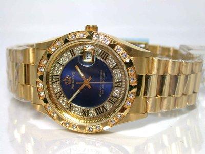 不鏽鋼日期顯示.藍色鑽框.羅馬數字男錶