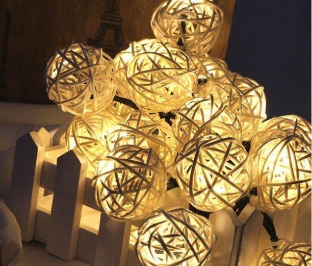 ☀傑太光能☀ 太陽能燈串 20LED  籐球燈聖誕 露營 藤球串燈 裝飾燈串 樹燈 藤編燈 C-58面向陽光