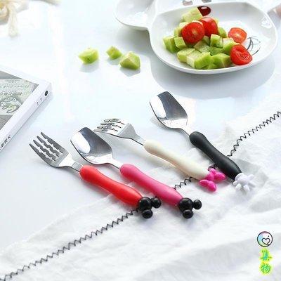 (2件免運)不銹鋼勺子兒童勺子餐具卡通嬰幼兒寶寶喂餐勺叉小孩叉子套裝可愛 集物生活