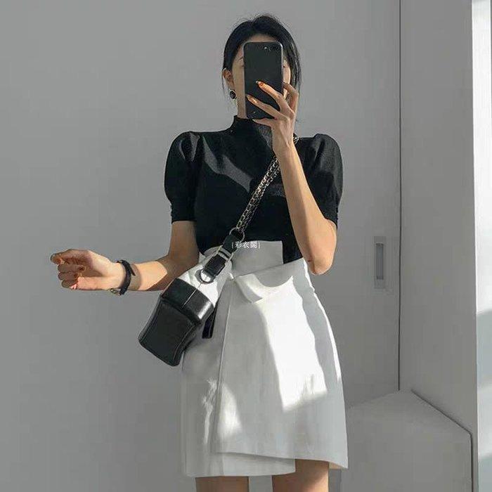 {彩衣閣} 2020秋冬潮新款高腰顯瘦白色不規則短裙女半身裙A字裙子潮褲裙半裙