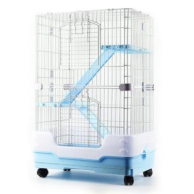 豪華龍貓籠子魔王金花松鼠籠水貂籠雙層三層貓籠帶輪 防噴尿