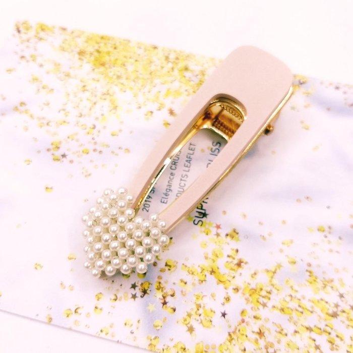 正韓國甜時尚美人 珍珠心木質板大壓夾  韓國製