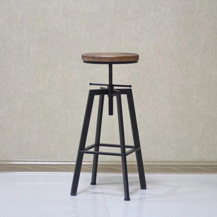 【 一張椅子 】 復古工業風 loft 小圓四腳吧台椅