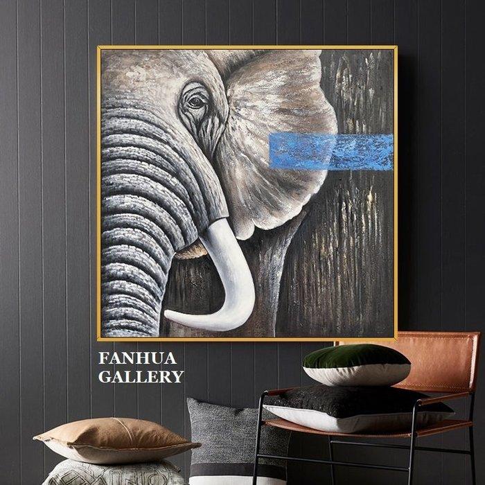 C - R - A - Z - Y - T - O - W - N 純手繪立體油畫藝術動物大象油畫玄關巨幅裝飾畫北歐美式客廳掛畫吉祥如意招財大象手繪畫設計師掛畫