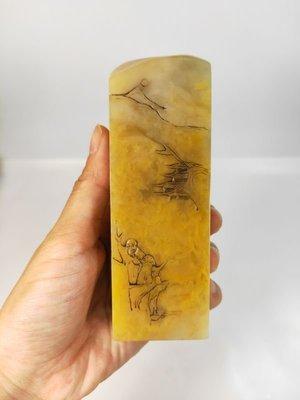 老撾北部田黃印章 山水畫薄藝雕 古獸 雅安綠原石篆刻