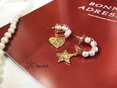 【海星 Starfish】不對稱精緻簍空設計星星月亮珍珠耳環