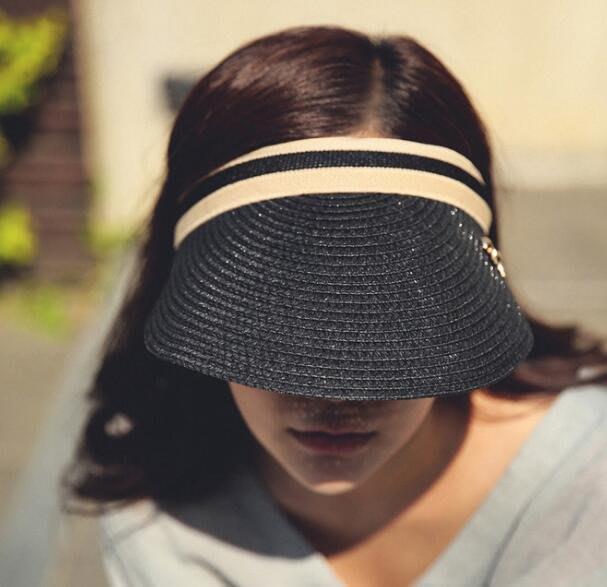 沙灘帽 度假帽子海邊防曬遮陽帽 大沿沙灘帽草帽 空頂帽可折疊騎車帽 M(56-58cm)—莎芭