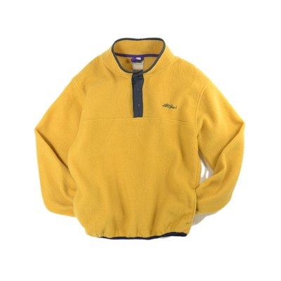 L.L Bean 刷毛 芥黃 S 素面 口袋 長袖 中層衣 Fleece Sleeve 罩衫 smock 戶外 撞色