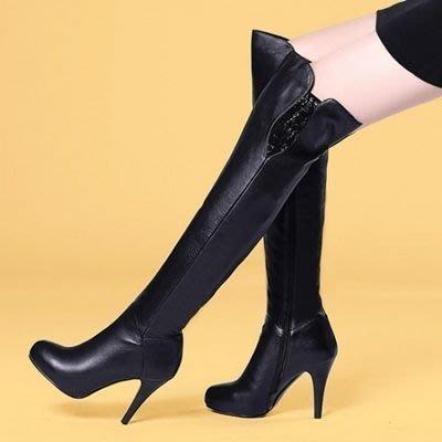 真皮過膝靴 高跟長靴-精緻奢華水鑽裝飾女鞋73iv6[獨家進口][米蘭精品]