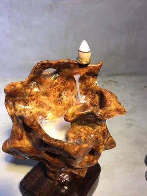崖柏陳化料 帶瘤花~聚寶盆 倒流香爐 擺件,天然凹槽,聚寶流煙 **G302
