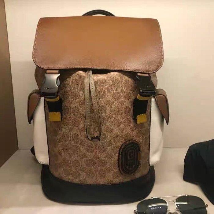 小皮美國代購 COACH 89080 新款男士後背包 老花拼色雙肩包 多功能背包 大容量 附購證