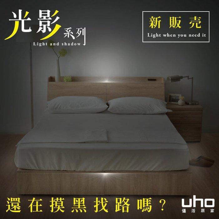 光影系列【UHO】秋原-五尺二件組(床頭箱+收納式床底)-D款