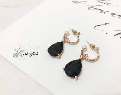 【海星 Starfish】|925銀針|韓劇女神 滿月款 高貴水滴黑鑽耳環 (玫瑰金)